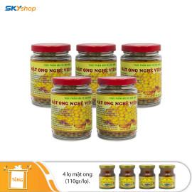 5 hũ viên mật ong nghệ vàng 100gr Xuân Nguyên - Tặng 4 lọ mật ong 110gr