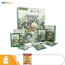 1 hộp nước mát gan đông trùng hạ thảo Jeong Won (80ml x 30 gói) - Tặng 1 gói kẹo sâm 200gr
