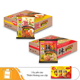 Nissin - 1 Thùng mì xào gà cay trứng muối, 1 thùng mì súp cay Hàn Quốc - Tặng 1 hộp yến Thiên Hoàng 12% ( 3 lọ/hộp)