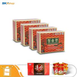 4 hộp tinh dầu thông đỏ Hàn Quốc Cheong Song Won (30 viên/hộp) - Tặng 10 chai nước sâm, 5 gói cháo yến