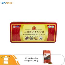 1 hộp viên hồng sâm đông trùng hạ thảo 120 viên Korea Insam - Tặng 1 hộp kẹo dẻo hồng sâm 200gr