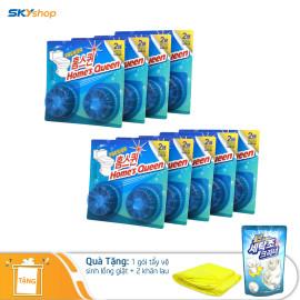 Bộ 18 viên tẩy bồn cầu Homes Queen (2 viên/vĩ) - Tặng 1 gói tẩy vệ sinh lồng giặt và 2 khăn lau